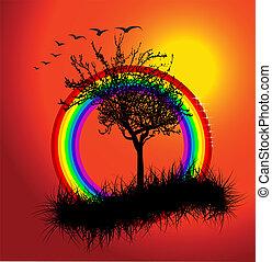 Autumn sunset with rainbow - vector illustration