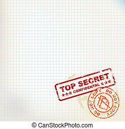 Paper with Top Secret stamps - Squared paper with Top Secret...
