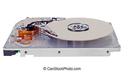 Hard disk drive HDD isolated on white background with soft...