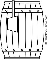 Wooden barrel with ladle icon outline