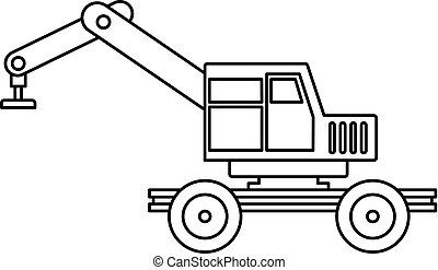Crane truck icon outline - Crane truck icon in outline style...