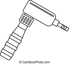 Hand draw rotary tattoo machine icon outline - Hand draw...