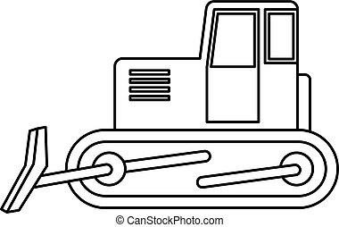 Bulldozer icon outline - Bulldozer icon in outline style...