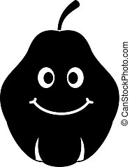 Smiling quince fruit icon simple - Smiling quince fruit icon...