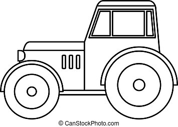 Tractor icon outline - Tractor icon in outline style...