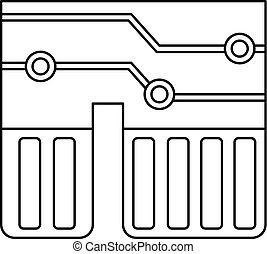 Computer chipset icon outline - Computer chipset icon in...
