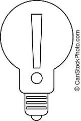 Bulb with exclamation mark inside icon outline - Light bulb...