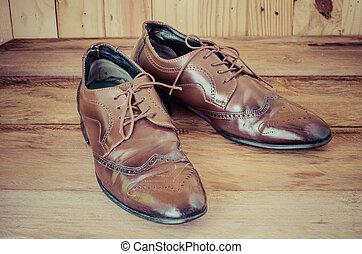 madeira, Marrom, homens, sapatos, chão