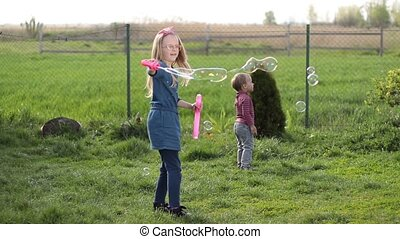 Joyful siblings playing with soap bubbles outdoors -...