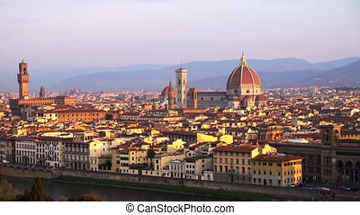 view of Florence at the sunrise time from the viewpoint
