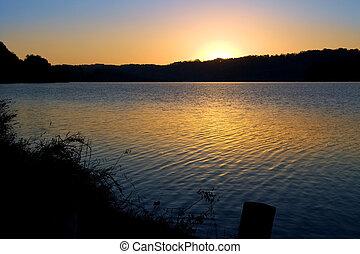 Sunrise Over Lake - Melton Hill Lake, Oak Ridge, Tennessee...