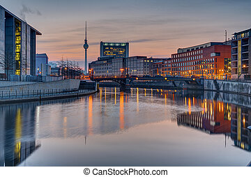 Sunrise at the river Spree in Berlin with the Television...