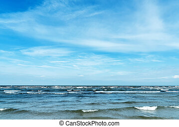 Beach and waves seen at the Baltic Sea