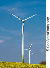 Wind-turbines in a rapeseed field - Wind-turbines in a...