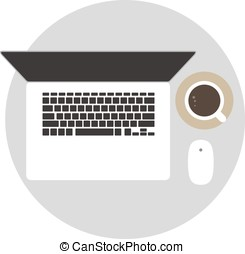 Laptop and coffee on the desk, top view, vector