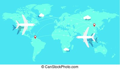 aircraft, Plane flying, world map, earth, vector illustration