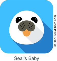 cute seal's baby flat icon design, vector illustration -...