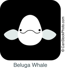 Beluga whale face flat icon, vector illustration - Beluga...