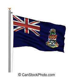 Flag of the Cayman Islands with flag pole waving in the wind...