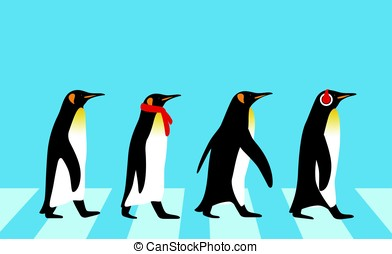 King Penguin walking, Penguin seed series, vector...