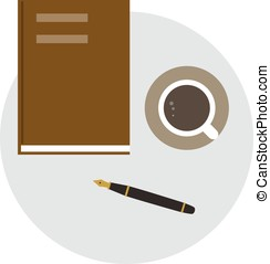 book, pen and coffee on the desk, top view, vector