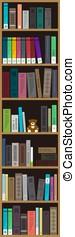 many books on the bookshelf, vector illustration