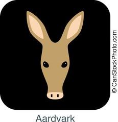 Aardvark cartoon face, flat icon design, vector illustration