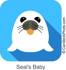 cute seal's baby flat icon design, vector illustration