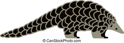 pangolin walking and searching, side view vector - pangolin...