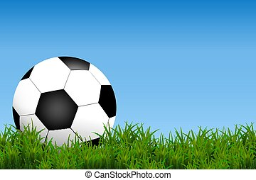 Football, soccer Ball Isolated on Grass field ad blue Background with Space for Your Text