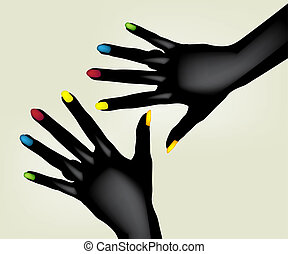 black hands - Illustration of colorful painted fingernails...