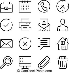 Business and communication line icons set. Modern graphic...