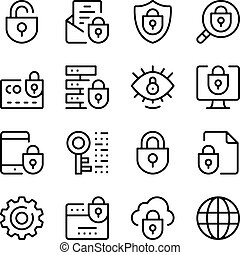 Internet security line icons set. Modern graphic design...