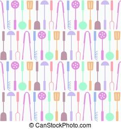 seamless kitchen tools icon pattern, vector illustration