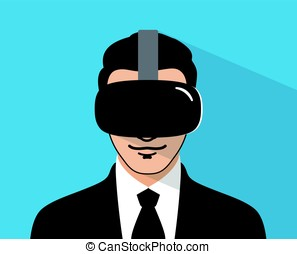 man wearing Virtual reality glasses. front view, playing games