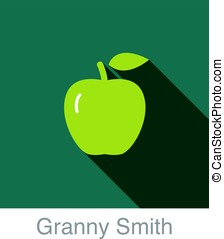 Granny Smith apple food and drink flat icon series, vector...