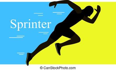 Sprinter leaving on the running track. explosive start, vector illustration