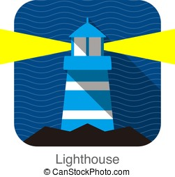 Lighthouse on the sea flat icon design vector