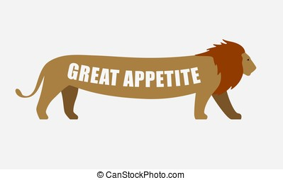 lion walking with long tummy, side flat icon design, super...