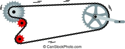 bike Chain with cogwheels. Vector illustration - simple bike...