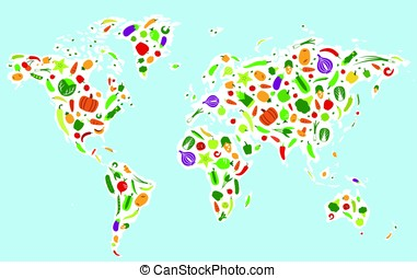 Vegetables and fruit icons in the map of the world