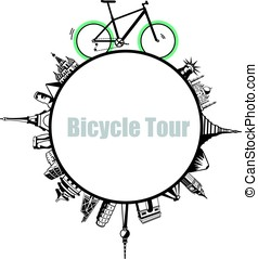 Modern City and country, Touring Bike, illustration