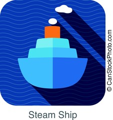 simple steam ship flat icon, vector illustration