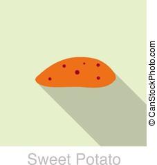 Sweet potato food flat cion design, vector illustration -...