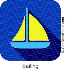 simple sailing flat icon on the sea