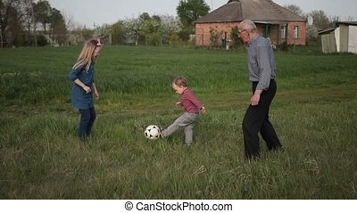 Multi generation family playing soccer together -...