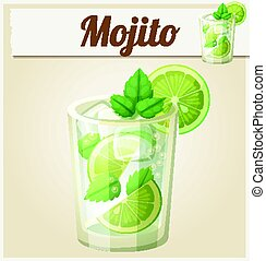 Mojito illustration. Cartoon vector icon. Series of food and...