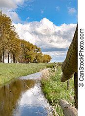 View along the Dutch dike - Old Dutch Sea Dike near Kampen...