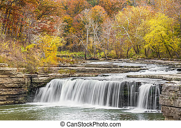 Autumn Indiana Waterfall - Lower Cataract Falls, a wide...