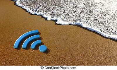 Wifi Sign on the Beach
